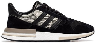 adidas black ZX 500 snake print suede low-top sneakers