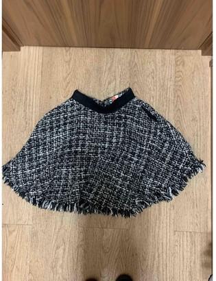 MSGM Grey Wool Skirt for Women