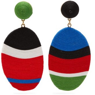 MaryJane Claverol Gala Mismatched Drop Clip Earrings - Red