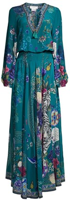 Camilla Lunar Gazing Floral Shirred Silk Maxi Dress