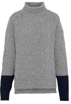 ALEXACHUNG Marled Ribbed Wool-blend Turtleneck Sweater