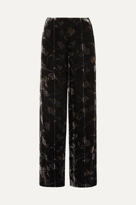 Diane von Furstenberg Mabel Floral-print Velvet Wide-leg Pants - Black