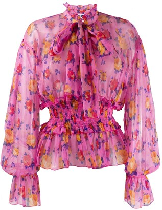 MSGM Floral-Print Long-Sleeved Blouse