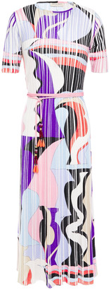 Emilio Pucci Printed Ribbed Wool Midi Dress