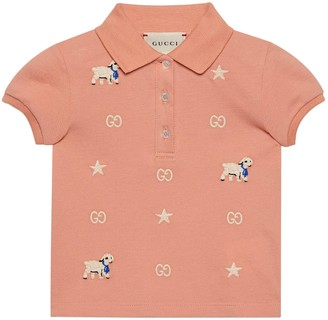 Gucci Baby cotton polo with lamb embroidery