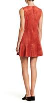 BCBGMAXAZRIA Faux Suede Split Neck V-Neck Fit & Flare Dress