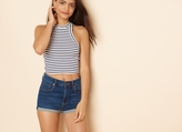 Garage Striped Ribbed Sport Neck Cropped Tank