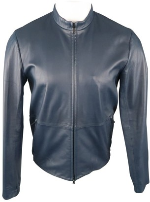 Theory Navy Leather Jackets