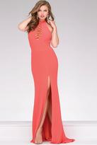 Jovani Jersey Open Back High Neck Prom Dress 48380
