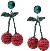 Venessa Arizaga Women's Gold Plated Round Green Crystal Rhinestones Red Cherry Picking Crochet Stud Earrings