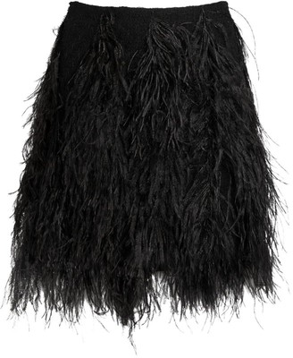 Giambattista Valli Ostrich Feather Mini Skirt