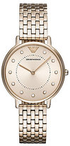 Emporio Armani Ladies Two Hand Pastel Pink IP Stainless Steel Analog Watch