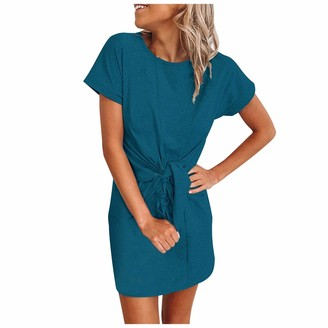 Zoiki Sexy A-Line Ties Up Slim Dress Vintage O Neck Short Sleeve Dresses Casual Solid Dresses for Work Streetwear Party Black