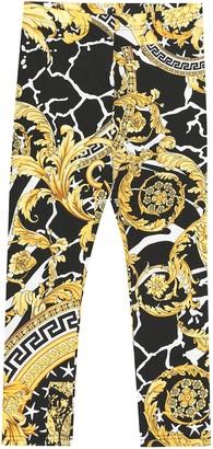 Versace Kids Hibiscus cotton-jersey leggings