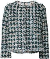 Coohem houndstooth pattern tweed jacket