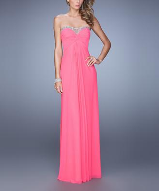 La Femme Women's Special Occasion Dresses Flamingo - Flamingo Pink Rhinestone-Accent Illusion-Bodice Gown - Women