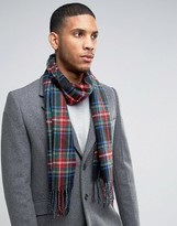 Asos Woven Plaid Scarf In Black And Red