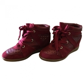 Isabel Marant Betty wedge trainers in burgundy