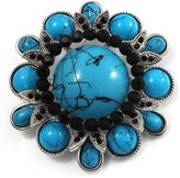 Avalaya Vintage Turquoise Stone Floral Corsage Brooch (Burn Silver Tone)