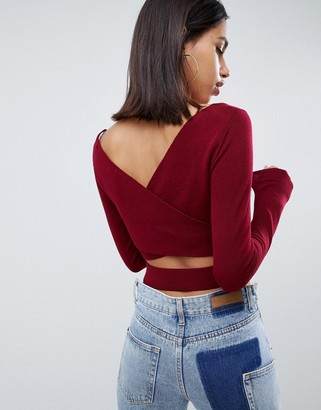 ASOS DESIGN fine knit top with cross back detail