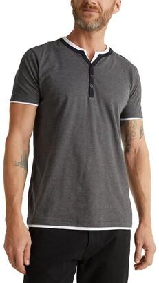 Esprit Cotton Straight T-Shirt with Grandad-Collar