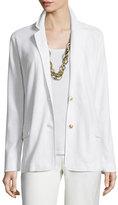 Joan Vass Two-Button Pique Blazer, White, Plus Size