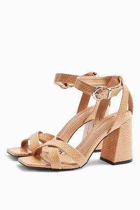 Topshop SACHA Beige Ankle Tie Block Heel Sandals