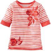 Osh Kosh Girls 4-8 Sparkly Flower Graphic Striped Tee