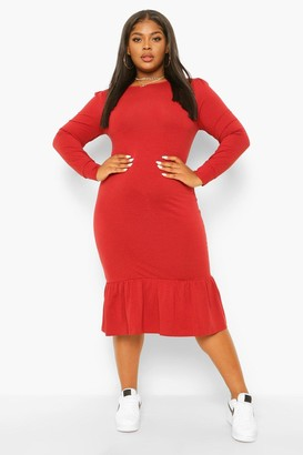 boohoo Plus Long Sleeve Frill Hem Midi Dress