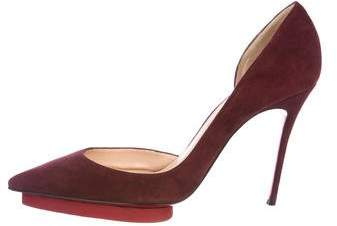 Christian Louboutin Suede Semi-d'Orsay Pumps