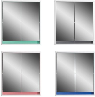 Lloyd Pascal Olinda Double Door Mirrored Bathroom Cabinet With Reversible 4 In 1 Colour Bar