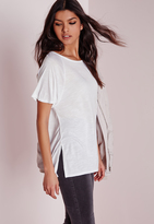 Missguided Crew Neck Raglan Split Side T Shirt White