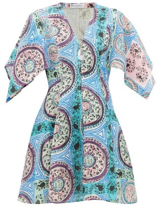 J.W.Anderson Mystic Paisley-print Linen Mini Dress - Blue Multi
