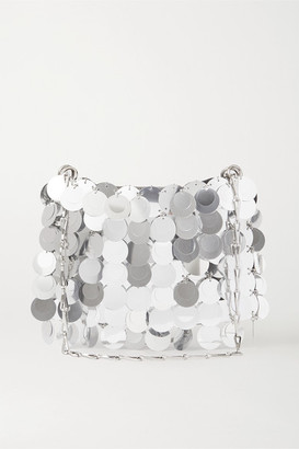Paco Rabanne Sparkle Paillette-embellished Satin Shoulder Bag - Silver