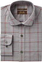 Tasso Elba Men's Regular Fit Non-Iron Blue Brown Bold Twill Glen Plaid Dress Shirt, Created for Macy's