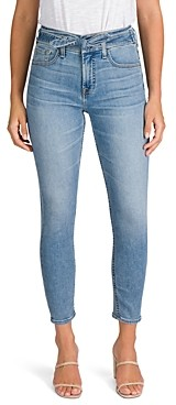 7 For All Mankind Jen7 by Tie Front Skinny Ankle Jeans in Crest