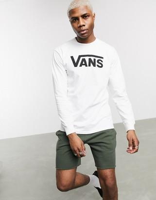 Vans Classic Ls t-shirt in white/black