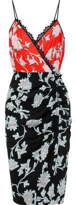 Diane von Furstenberg Ebony Wrap-effect Lace-trimmed Floral-print Crepe Dress