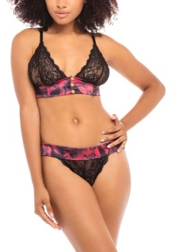 Oh La La Cheri Women's Galloon Lace Triangle Cup Bralette with Thick Satin Band and Front Snap Closure with Matching Panty Set