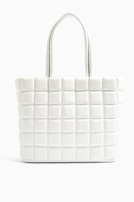 Topshop RILEY White Quilted Tote Bag