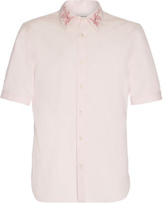 Alexander McQueen Floral-Embroidered Cotton-Poplin Shirt