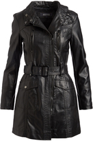 Kenneth Cole Black Pocket Trench Coat