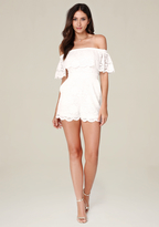 Bebe Lace Off Shoulder Romper