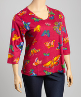 La Cera Raspberry Butterfly Three-Quarter Sleeve Top - Plus Too