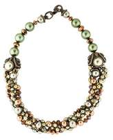 Jose & Maria Barrera Faux Pearl & Crystal Collar Necklace