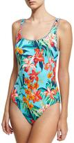 Tommy Bahama Reversible Lace-Up Back One-Piece Swimsuit, Blue