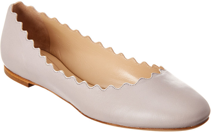 bebcac71 Lauren Scalloped Leather Ballerina Flat