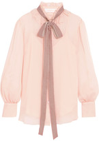 See by Chloe Velvet-trimmed Pussy-bow Ruffled Crepon Blouse - Blush