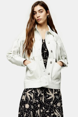 Topshop White Fringed Leather Jacket