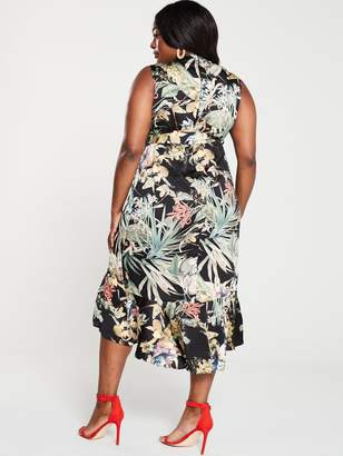 AX Paris Curve Floral Print Wrap Dress - Black